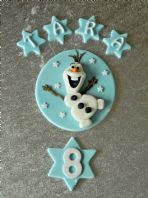 Handmade Olaf Snowman Frozen Birthday Edible Cake Topper with Name & Number